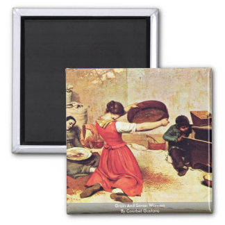 Grain And Seven Women By Courbet Gustave Square Magnet
