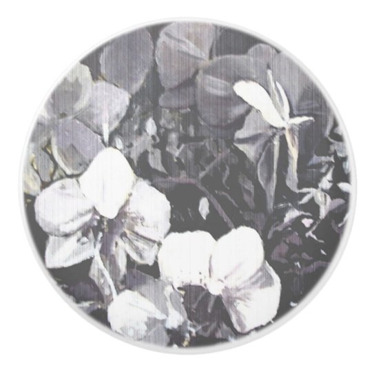Grain Black & White Orchid Ceramic Knob