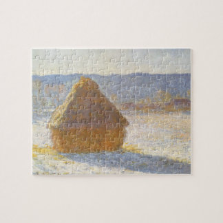Grainstack in Morning, Snow Effect by Claude Monet Jigsaw Puzzle
