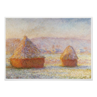 Grainstacks, White Frost Effect, 1889 Poster