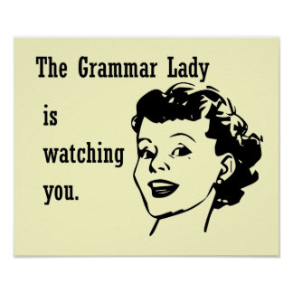 Grammar Lady Watching Postcards Poster