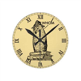 Grammar Owl Says Whom Wallclock