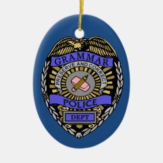 Grammar Police Dept Badge Pencil Eraser Ceramic Oval Ornament