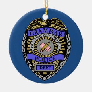 Grammar Police Dept Badge Pencil Eraser Round Ceramic Ornament