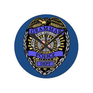 Grammar Police Dept Badge Pencil Eraser Wall Clock