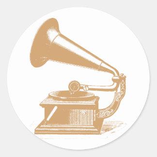gramophone customizable design classic round sticker