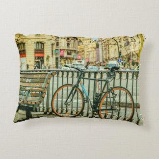 Gran Via Street, Madrid, Spain Accent Pillow