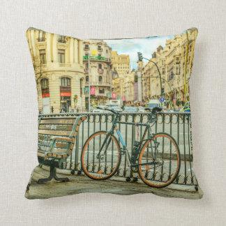 Gran Via Street, Madrid, Spain Throw Pillow