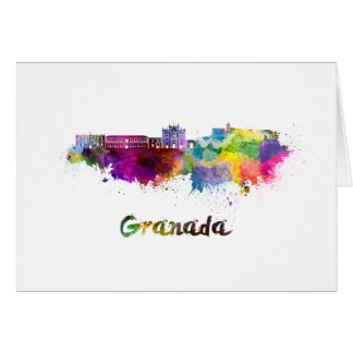 Granada skyline in watercolor card