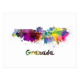 Granada skyline in watercolor postcard