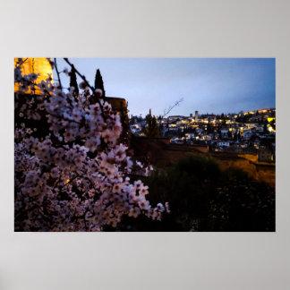 Granada's Albayzin seen from The Alhambra's almond Poster