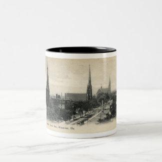 Grand Ave., Milwaukee, Wisconsin 1907 Vintage Two-Tone Coffee Mug