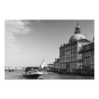 Grand Canal in Venice in Black and White Photo