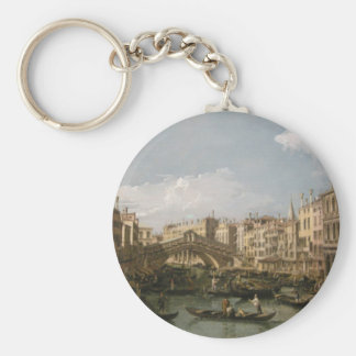 Grand canal, view from north by Bernardo Bellotto Basic Round Button Keychain