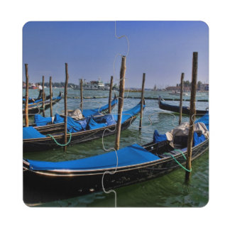 Grand Canal water with gondalo boats lined up Puzzle Coaster