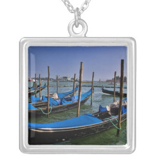 Grand Canal water with gondalo boats lined up Silver Plated Necklace
