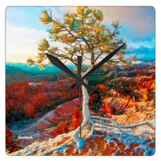 Grand Canyon Evergreen Square Wall Clock