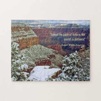 Grand Canyon in Winter with Emerson Quote Jigsaw Puzzle
