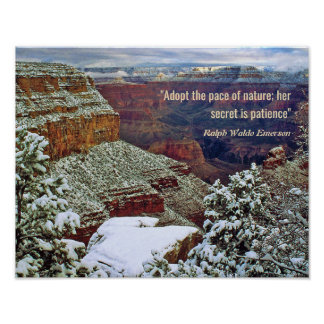 Grand Canyon in Winter with Emerson Quote Poster