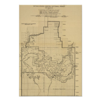 Grand Canyon National ParkPanoramic Map Poster