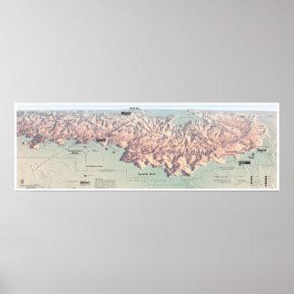 Grand Canyon South Rim map poster