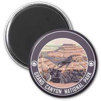 Grand Canyon Vintage Poster Design 2 Inch Round Magnet
