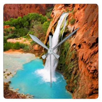 Grand Canyon waterfalls. Square Wall Clock