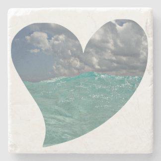 Grand Cayman Heart Natural Stone Coaster