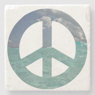 Grand Cayman Peace Sign Natural Stone Coaster