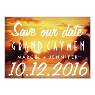 Grand Cayman Sunset Destination Wedding Save Date Card