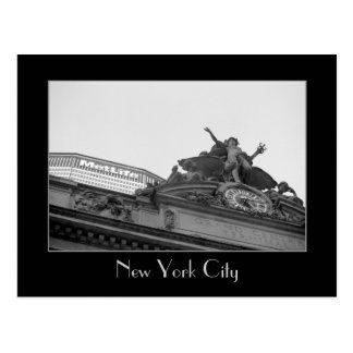 Grand Central Station & Met Life Building B&W Postcard