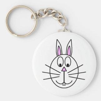 Grand dessin blanc de bande dessinée de lapin porte-clés