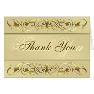 Grand Duchess Gold Scroll Thank You Notecard