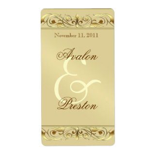 Grand Duchess Gold Scroll Wine Wedding Label Shipping Label