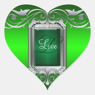 Grand Duchess Green Heart Silver Love Sticker