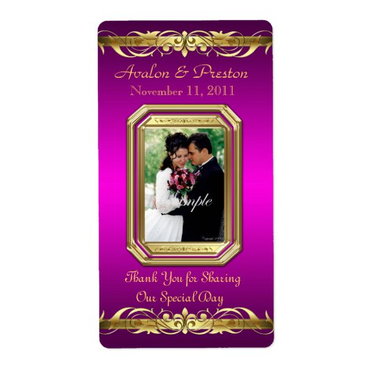 Grand Duchess Pink Photo Gold Wine Wedding Label Shipping Label