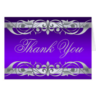 Grand Duchess Purple & Silver Thank You NoteCard