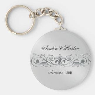 Grand Duchess Silver Metal Scroll  Keychain