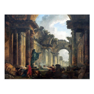 Grand Gallery of the Louvre in Ruins - 1796 Postcard