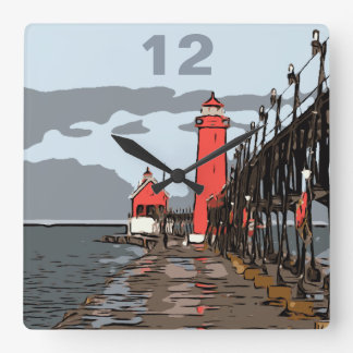 GRAND HAVEN LIGHT SQUARE WALL CLOCK