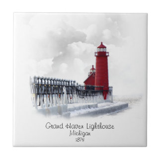 Grand Haven Lighthouse - Michigan Tile
