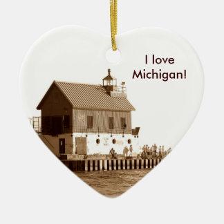 grand haven pier, I love Michigan! Ceramic Ornament
