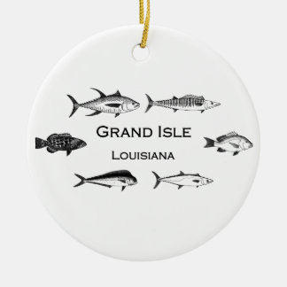 Grand Isle Louisiana Deep Sea Fishing Round Ceramic Ornament