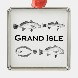 Grand Isle Louisiana Saltwater Fishing - Game Fish Silver-Colored Square Ornament
