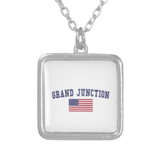 Grand Junction US Flag Silver Plated Necklace