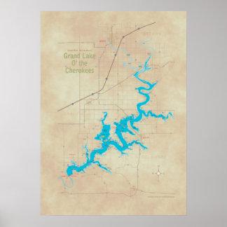 Grand Lake OK map 2 Poster