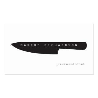 Grand logo de couteau de chef pour le chef personn cartes de visite personnelles