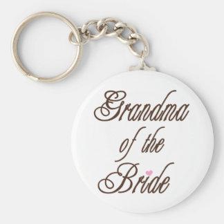 Grand-maman des bruns chics de jeune mariée porte-clé rond