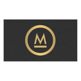 Grand monogramme moderne initial en or de Faux Carte De Visite Standard