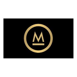 Grand monogramme moderne initial en or de Faux sur Carte De Visite Standard